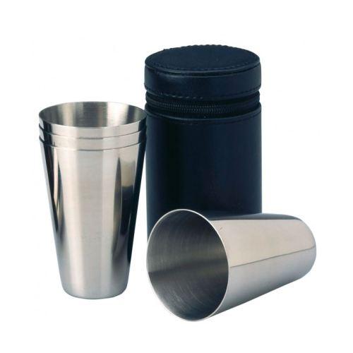 set 4 gobelets inox pour flasque gobelets avec tui cuir. Black Bedroom Furniture Sets. Home Design Ideas