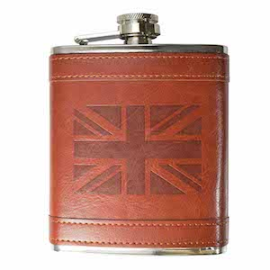 Flasque inox cuir UK Flag 240ml UK Hip Flasks