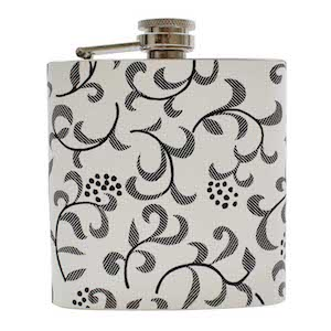 Flasque White Floral 180ml UK Hip Flasks